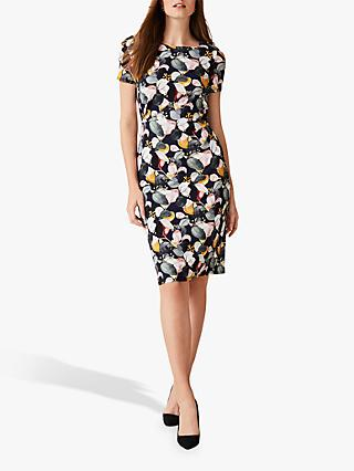 Phase Eight Laina Leaf Print Dress, Navy/Multi