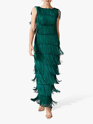 Phase Eight Ismay Fringe Maxi Dress, Jade