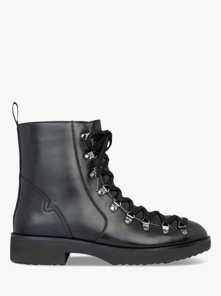 Fitflop FitFlop Skandi Leather Lace Up Ankle Boots, Black