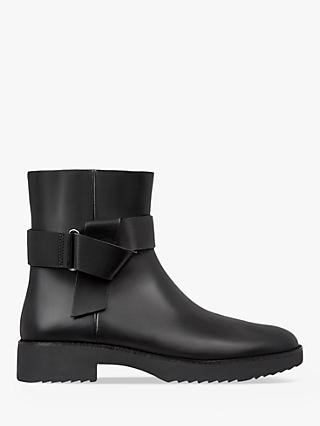 FitFlop Knot Detail Leather Ankle Boots, Black
