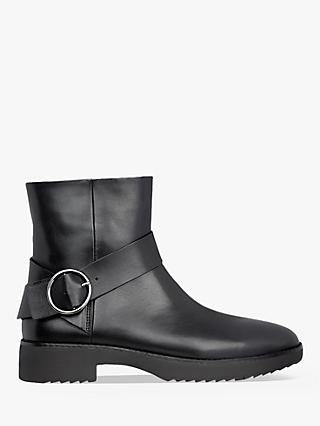 FitFlop Saska Leather Buckle Detail Ankle Boots