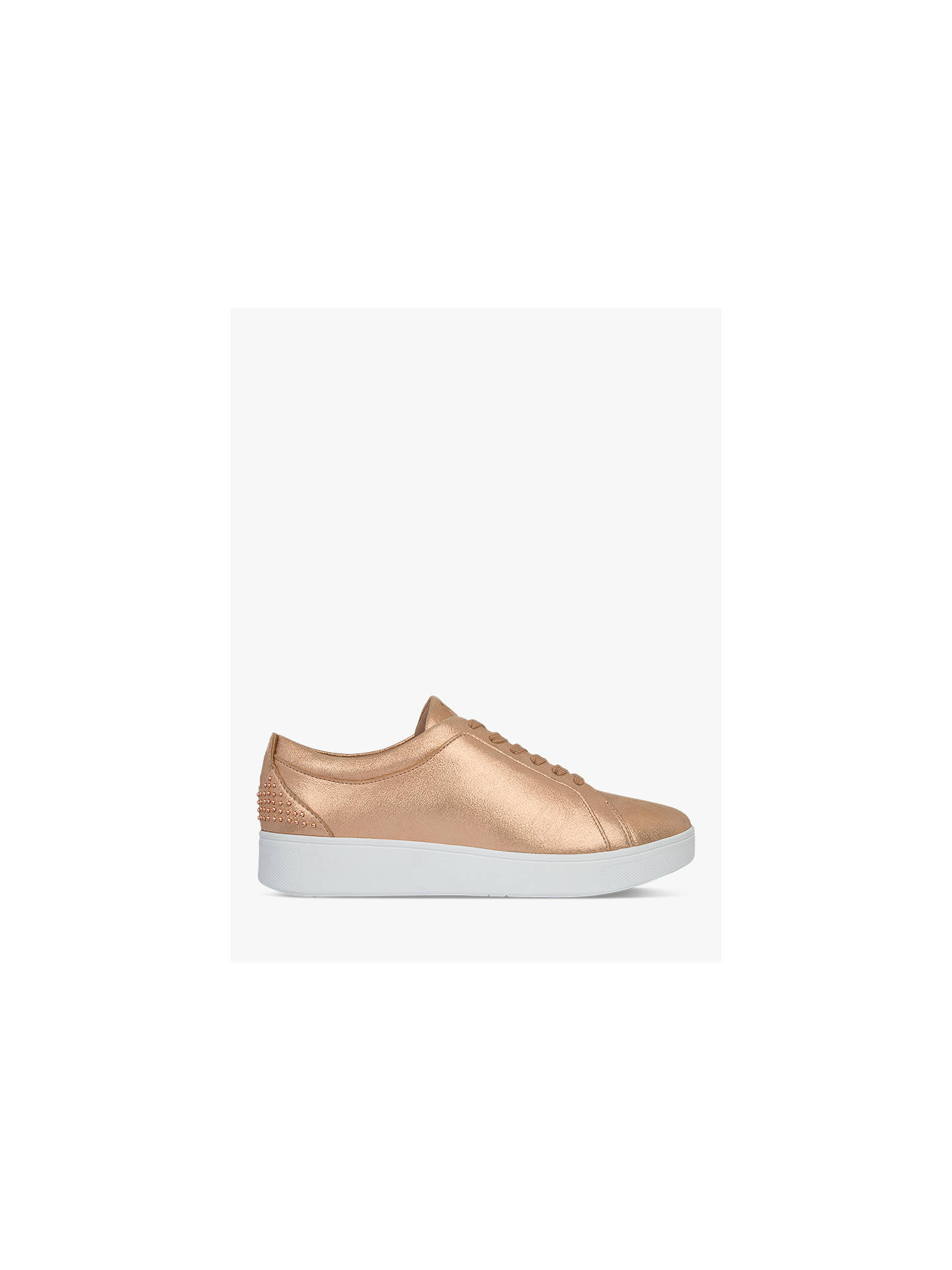 Buy FitFlop Rally Lace Up Stud Trainers, Rose Gold, 4 Online at johnlewis.com