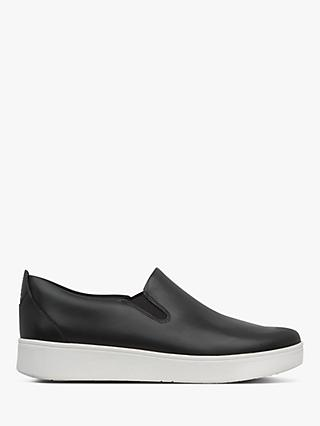 FitFlop Sania Skate Leather Slip-On Trainers, Black