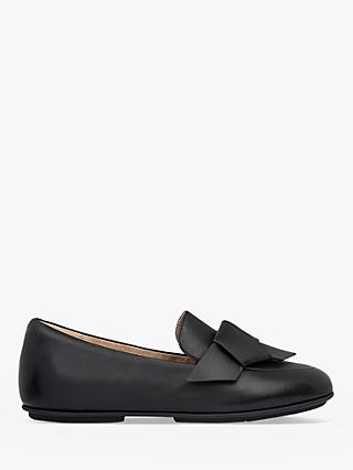 FitFlop Lena Folded Bow Leather Loafers, Black