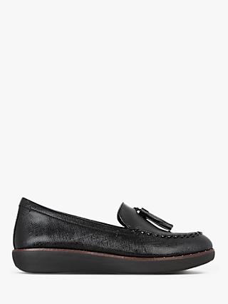 FitFlop Petrina Textured Leather Tassel Loafers, Black