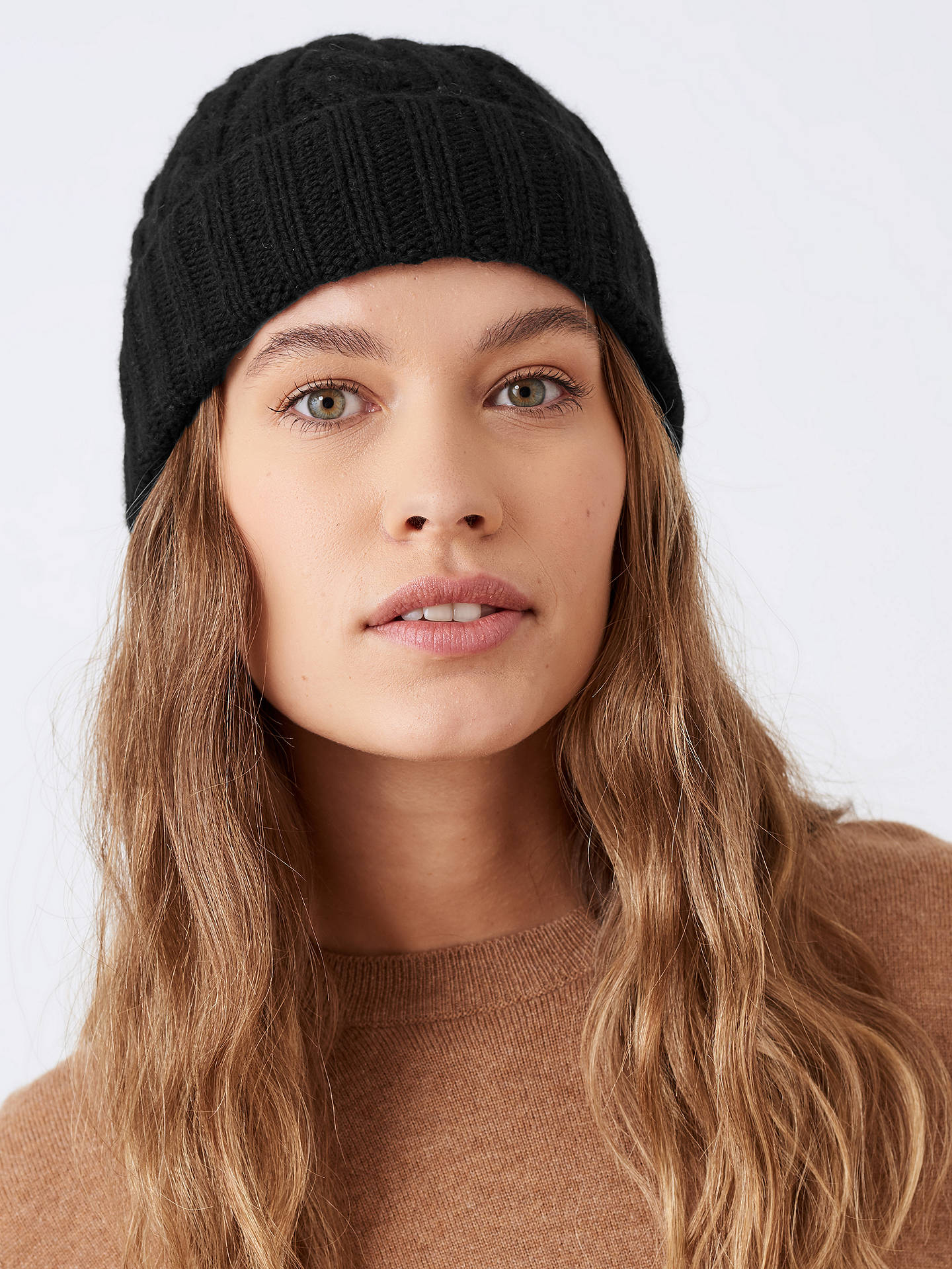 Buy Brora Cashmere Cable Knit Hat, Black Online at johnlewis.com
