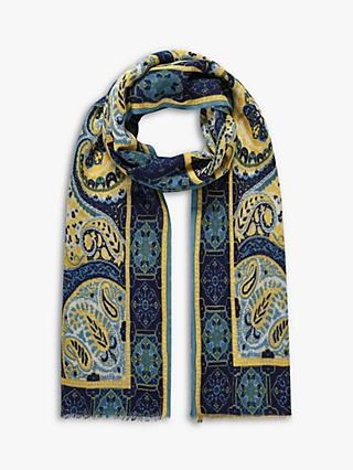 Brora Wool Paisley Stole Scarf, Chamomile/Navy