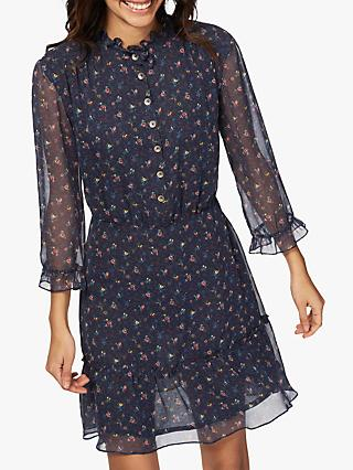 Brora Liberty Silk Chiffon Dress, Navy/Multi