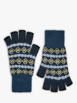 6020df635 Brora Cashmere Abstract Pattern Fingerless Gloves