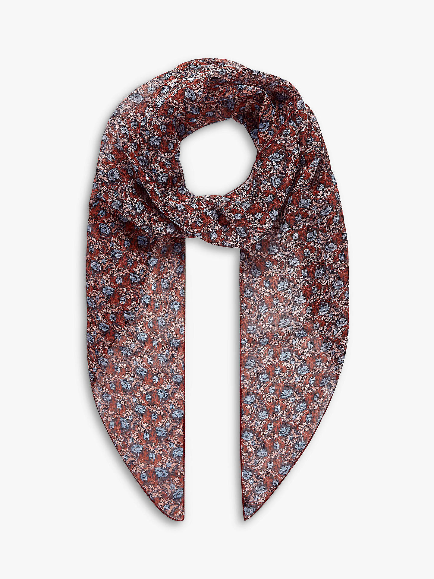 78f15d511 Buy Brora Liberty Print Silk Scarf, Mist Poppy Online at johnlewis.com ...