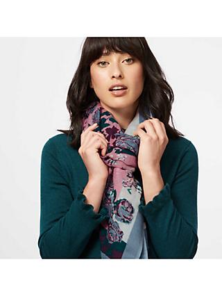 Brora Wool Floral Print Stole Scarf, Storm/Wild Rose