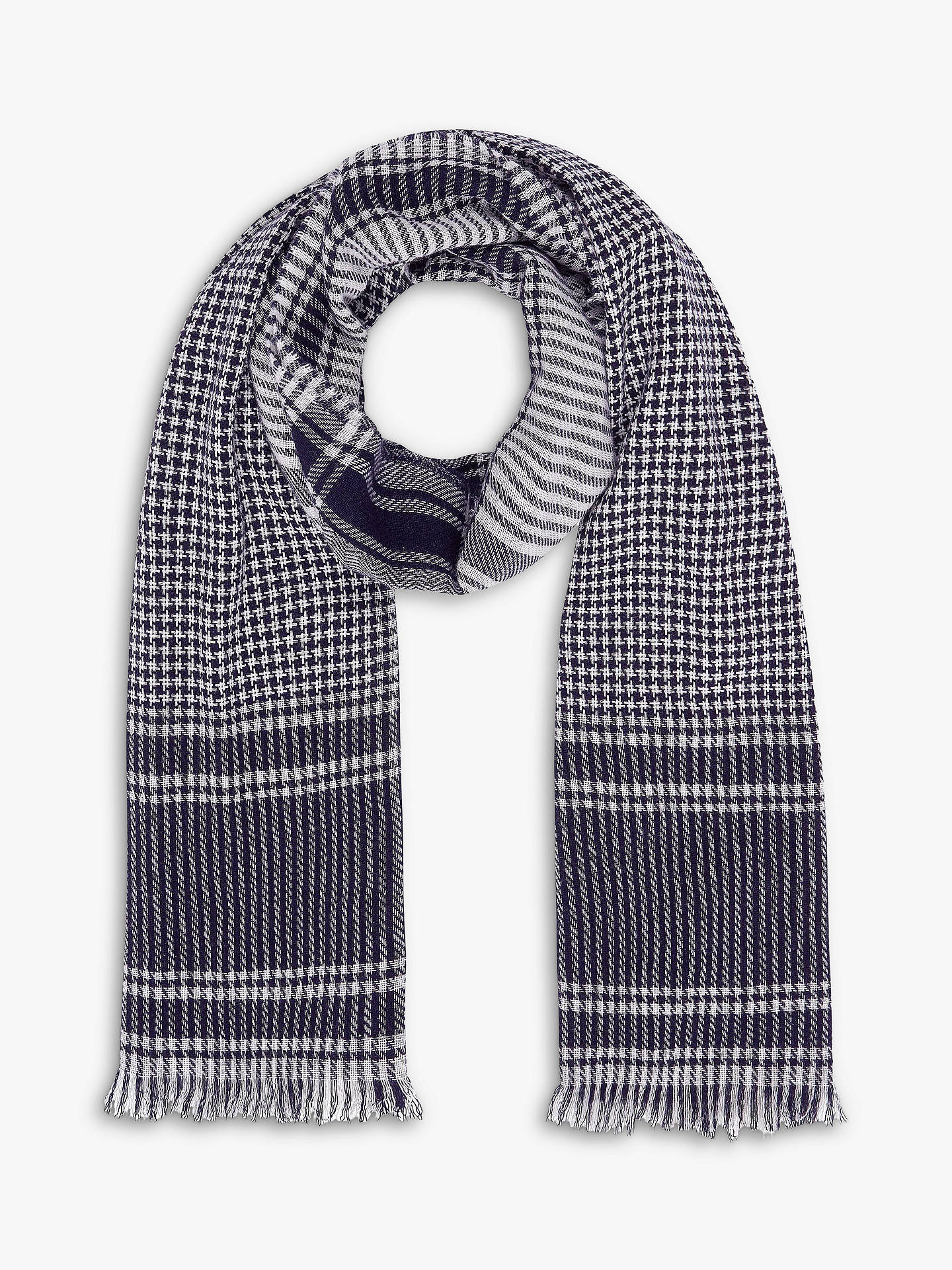 Buy Brora Cashmere Houndstooth Check Stole Scarf, Navy, One Size Online at johnlewis.com