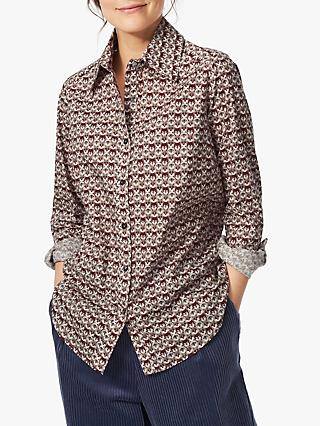 Brora Liberty Print Cotton Shirt, Winter Wolves