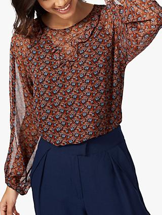 Brora Liberty Silk Chiffon Blouse, Neutral/Multi