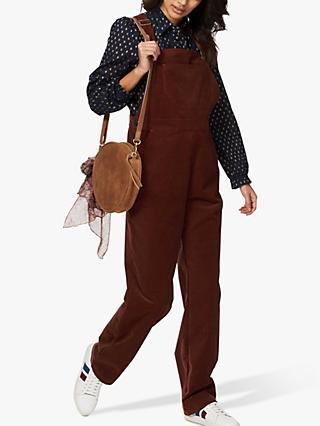 Brora Needle Cord Dungarees, Chestnut