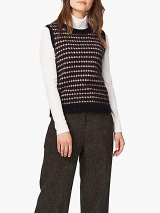 Brora Mohair Houndstooth Sweater Vest, Charcoal