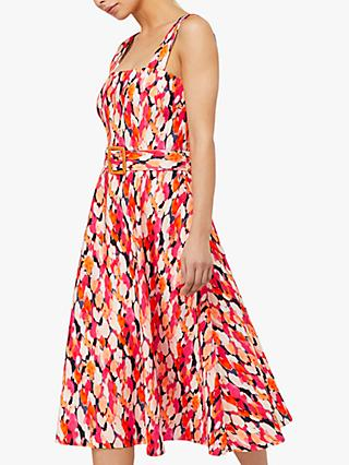 Monsoon Amalle Abstract Print Belted Midi Dress, Orange/Multi