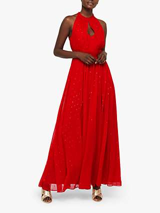 Monsoon Brie Dobby Foil Detail Maxi Dress, Red