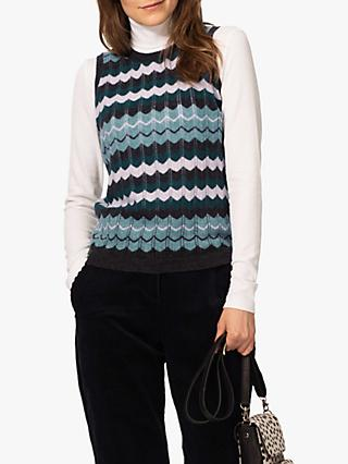 Brora Cashmere Wave Knit Tank Top, Peat