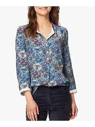 Brora Liberty Print Silk Shirt, Steel Dragon