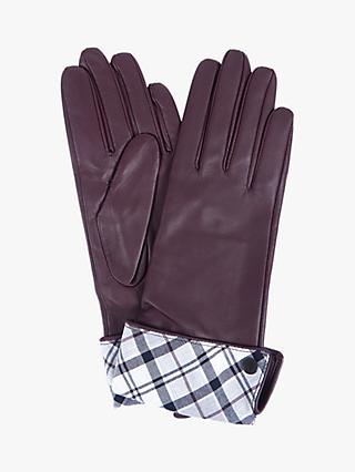 Barbour Lady Jane Leather Gloves, Juniper/Grey