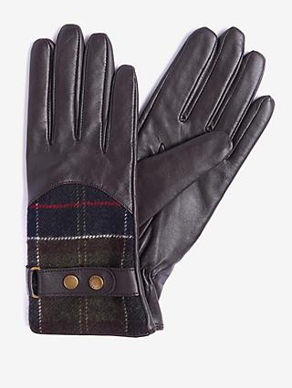 Barbour Dee Tartan Leather Gloves, Dark Brown