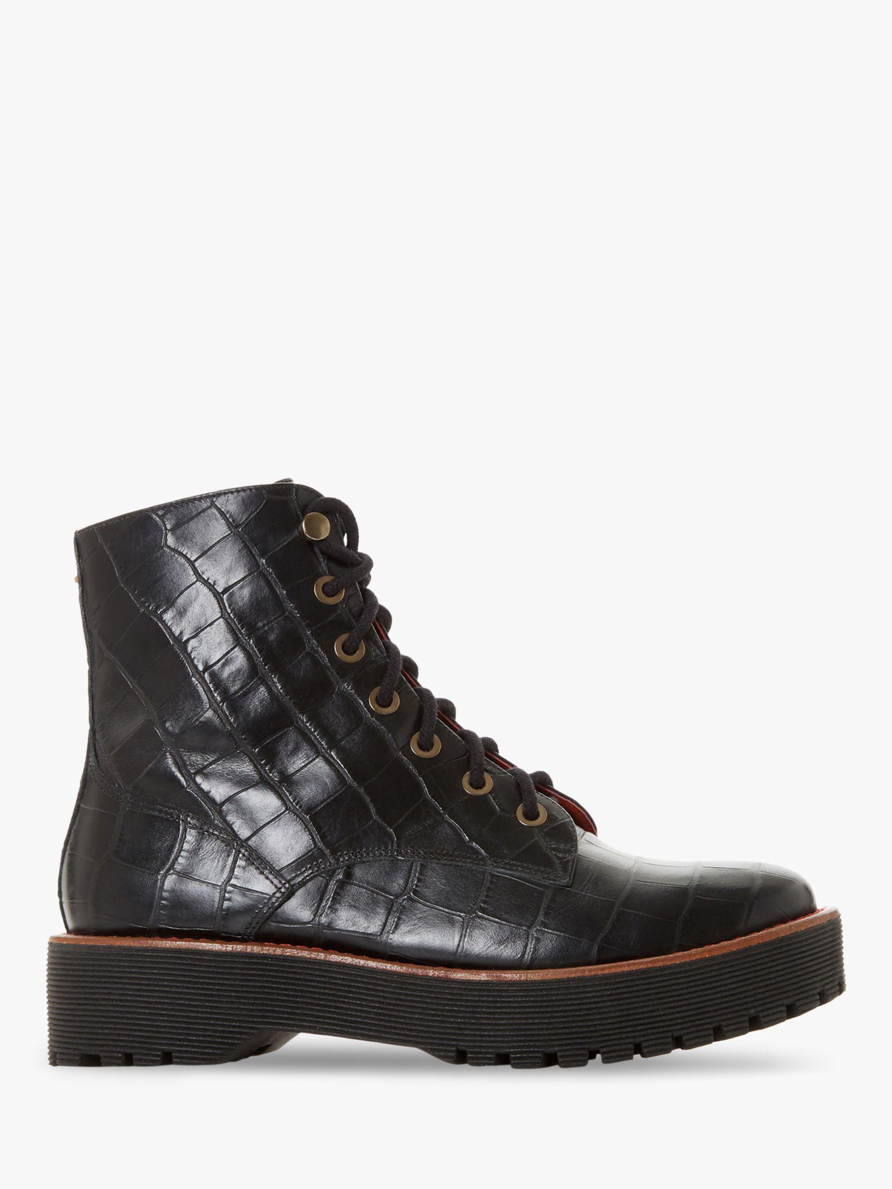 Bertie Bertie Paper Leather Textured Ankle Boots, Black Croc