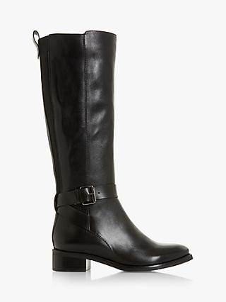 Bertie Taykonie Buckle Detail Leather Knee Boots, Black