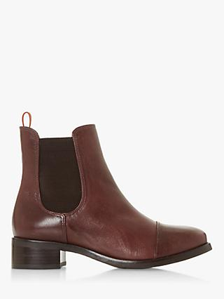 Bertie Pack Leather Block Heeled Ankle Boots, Burgundy