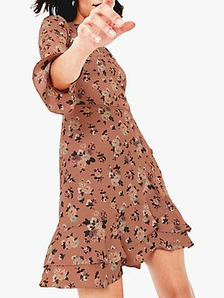 Oasis Loganberry Skater Dress, Tan/Multi