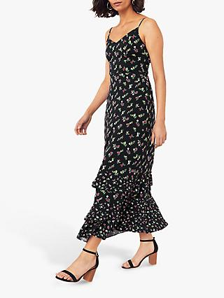 Oasis Floral Ruffle Midi Dress, Multi Blue