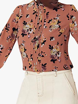 Oasis Floral High Neck Blouse, Orange/Multi