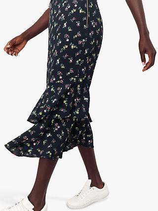 Buy Oasis Ditsy Floral Print Midi Skirt, Blue/Multi, 6 Online at johnlewis.com