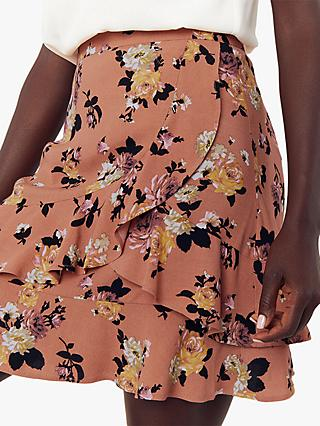 Oasis Rose Ruffle Skirt, Multi Orange