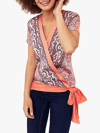 Oasis Paisley Print Side Tie Top, Orange/Multi