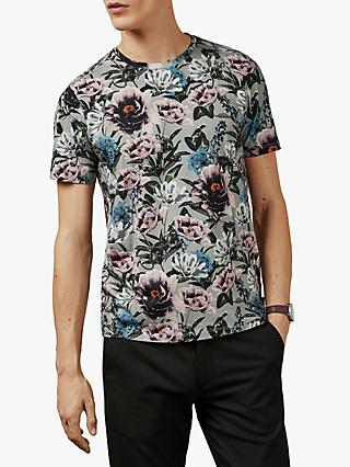 Ted Baker Konki Floral Print T-Shirt, Light Grey