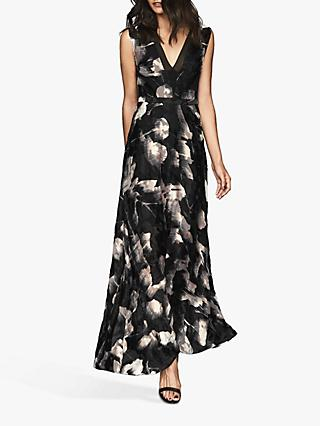 Reiss Kaira Glacier Burnout Maxi Dress, Black/Neutral