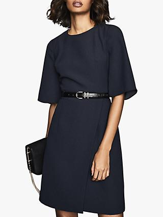 Reiss Myra Tailored Wrap Shift Dress, Navy