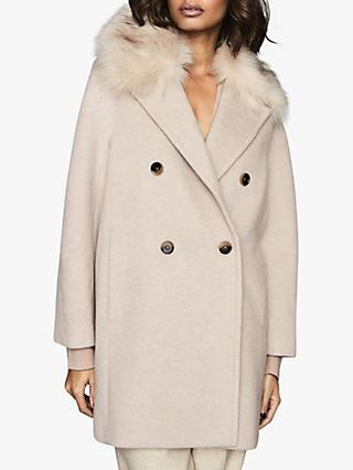 Reiss Lawson Faux Fur Shawl Collar Coat, Oatmeal