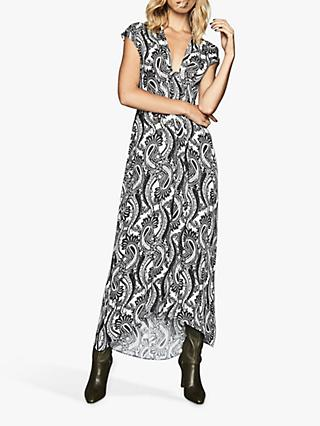 Reiss Ida Paisley Printed Maxi Dress, Black/White