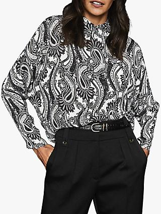 Reiss Fion Paisley Printed Shirt, Black/White