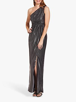 Adrianna Papell Metallic Asymmetric Neck Pleat Detail Maxi Dress, Gunmetal