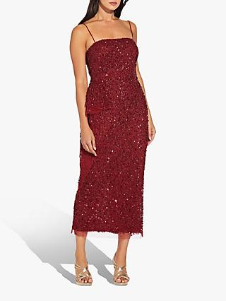 Adrianna Papell Sleeveless Beaded Dress, Cranberry