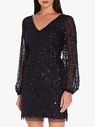 Adrianna Papell Mini Beaded Cocktail Dress, Black