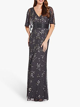 Adrianna Papell Beaded Capelet Gown, Gunmetal