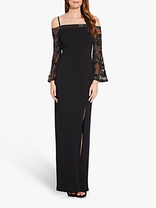 Adrianna Papell Bead Crepe Long Dress, Black