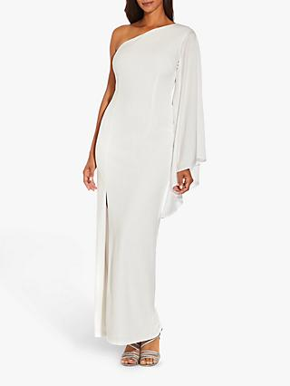 Adrianna Papell One Shoulder Cape Sleeve Gown, Ivory
