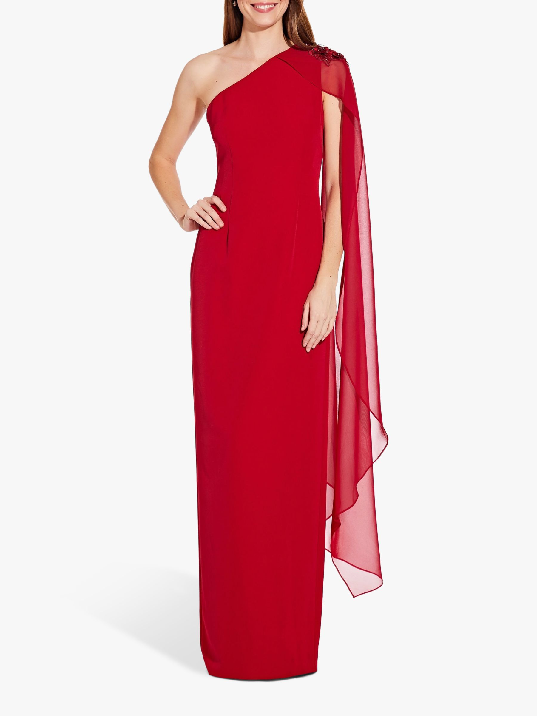Adrianna Papell Adrianna Papell One Shoulder Cape Sleeve Gown, Cardinal