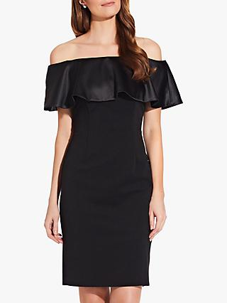 Adrianna Papell Charmeuse Bardot Dress, Black