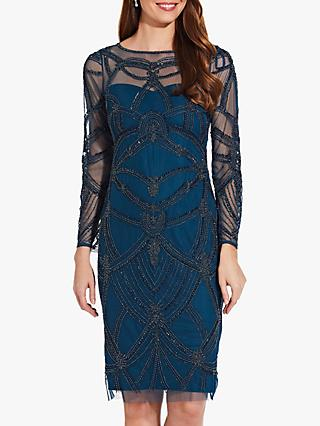 Adrianna Papell Long Sleeve Beaded Dress, Teal Crush